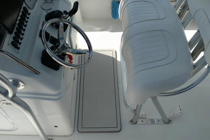 white custom helm pad used at boat helm station