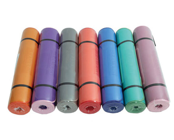 well packed color yoga mats with straps