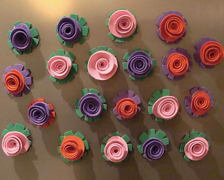 color flowers made by craft foam sheets