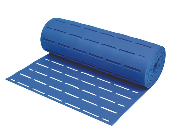 Blue slotted EVA foam underlayment for underfloor heating