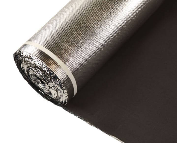black vapor barrier underlayment with silver foil