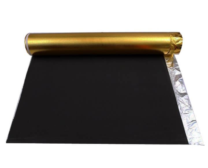 Black foam floor underlayment with golden film