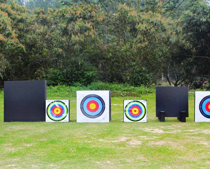 Square shape archery target foam blocks in use