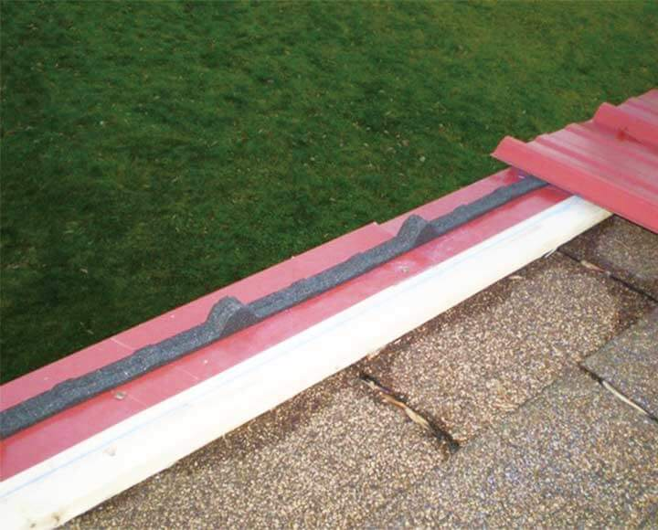 corrugated foam closure strips used on metal roofing