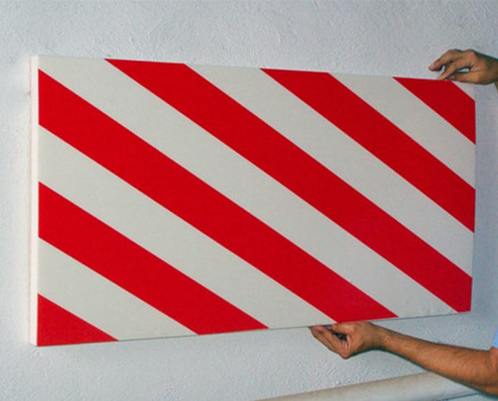 garage wall protector with white and red reflective tape