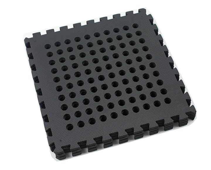 black outdoor foam mats with holes through