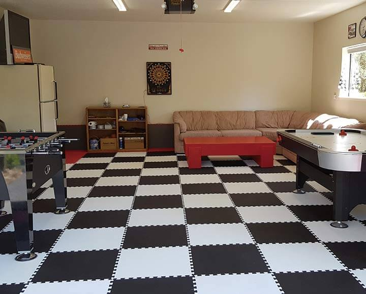 black and white interlocking foam mats for basement floor