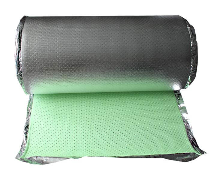 green perforated floor underlayment with aluminum film