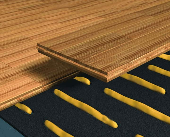 Black underfloor heating underlay for wood flooring
