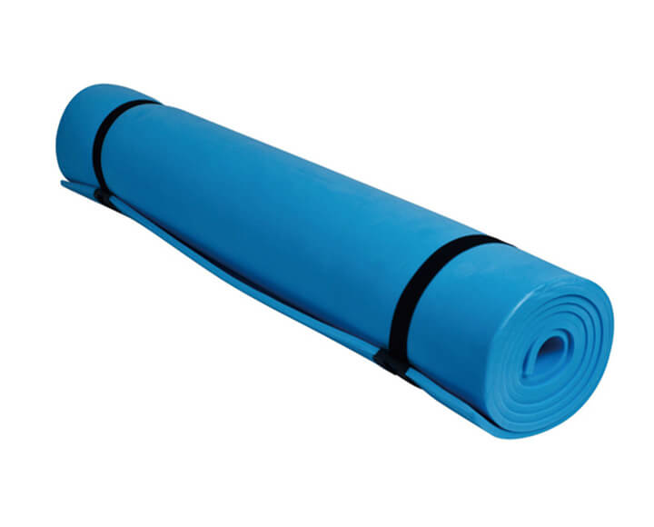 Blue non slip yoga mat with holding straps