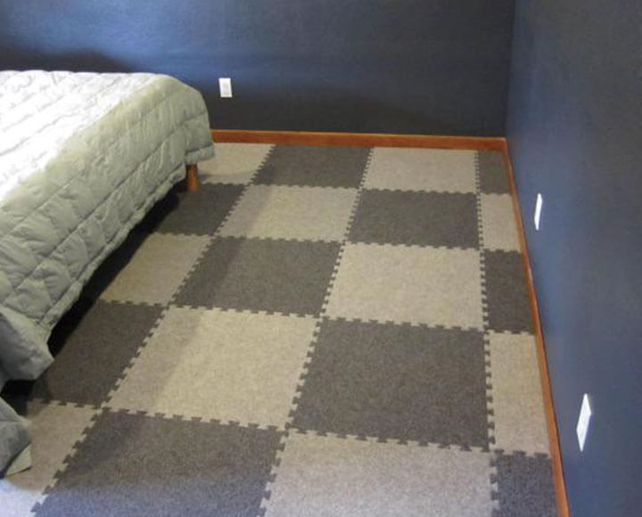 gray brown color carpet foam mats in bedroom