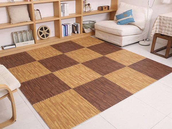 Wood Grain Foam Mat For Home Flooring