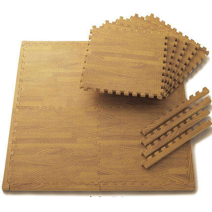 wood grain foam mats with strips for easy installation