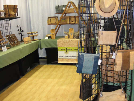 Wood grain foam mats for trade show booth
